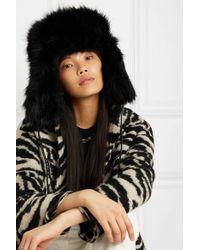 Eugenia Kim Black Owen Hut Aus Faux Fur Mit Lederbesatz
