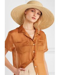 Clyde Natural Cotton Gauze-trimmed Straw Sunhat
