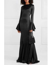 Caroline Constas Black Allonia Robe Aus Stretch-seidensatin Mit Volants