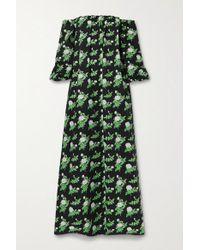 BERNADETTE Black Bobby Schulterfreies Kleid Aus Popeline Aus Einer Baumwollmischung Mit Blumenprint