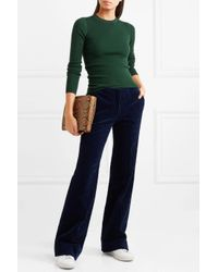 Theory Green Miriz Ribbed Merino Wool Sweater