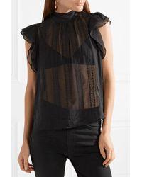 Ulla Johnson - Black Heddy Embroidered Silk-georgette Top - Lyst
