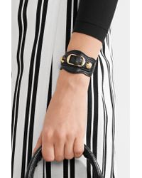 Balenciaga - Black Arena Textured-leather And Gold-tone Bracelet - Lyst