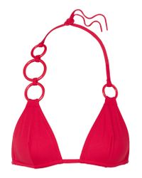 Eres Red Lunaris Embellished Triangle Bikini Top