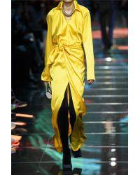 Balenciaga Yellow Maxi-wickelrock Aus Satin