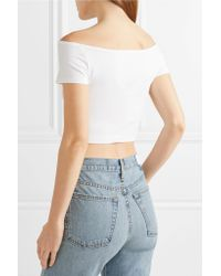 Helmut Lang White Cropped Off-the-shoulder Stretch-jersey Top
