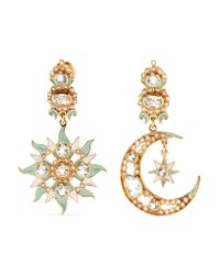 Percossi Papi - Metallic Gold-plated, Topaz And Seed Pearl Earrings - Lyst