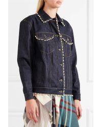 Paul & Joe - Blue Faux Pearl-embellished Denim Jacket - Lyst