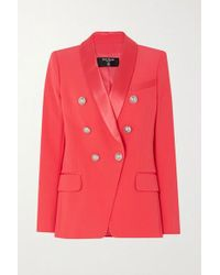 Balmain Pink Double-breasted Satin-trimmed Crepe Blazer