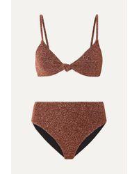Caroline Constas Brown Marta And Mykela Bikini Aus Stretch-lurex® Mit Knoten