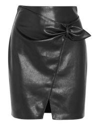 Nanushka Black Cascade Faux Leather Mini Skirt
