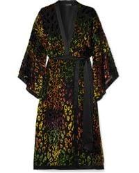 Saloni - Black Suki Satin-trimmed Flocked Crepe De Chine And Chiffon Wrap-effect Dress - Lyst