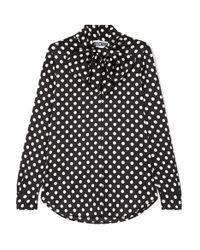 Moschino Black Schluppenbluse Aus Charmeuse Mit Polka-dots