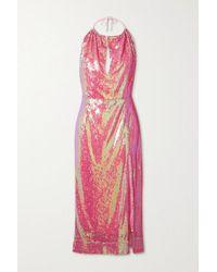 HARMUR Pink Sequined Satin Halterneck Midi Dress