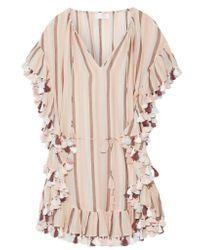 Zimmermann Pink Jasper Tasseled Striped Cotton-voile Mini Dress