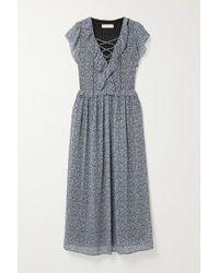 MICHAEL Michael Kors Black Lace-up Ruffled Floral-print Crepe Maxi Dress