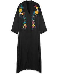 Etro Black Embroidered Hammered Silk-blend Maxi Dress