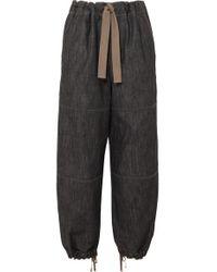 Brunello Cucinelli Blue Bead-embellished Denim Tapered Pants
