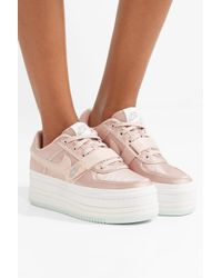 Nike Pink Vandal 2k Faux Leather-trimmed Metallic Faille Platform Sneakers