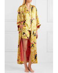 Eres Multicolor Perroquet Printed Silk-satin Robe