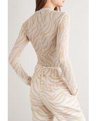 Sally Lapointe White Oberteil Aus Stretch-mesh Mit Zebraprint