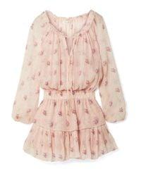 LoveShackFancy - Pink Popover Ruffled Metallic Floral-print Silk-blend Crepon Mini Dress - Lyst