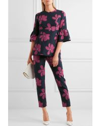 Lela Rose - Blue Cotton-blend Floral-jacquard Peplum Top - Lyst