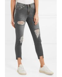 SJYP Gray Verkürzte, Halbhohe Skinny Jeans In Distressed-optik