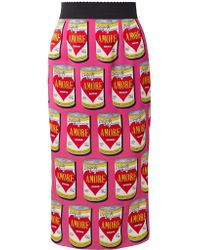 Dolce & Gabbana Pink Printed Stretch-silk Charmeuse Midi Skirt