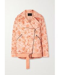 Mother Of Pearl Multicolor + Net Sustain Quilted Floral-print Satin Biker Jacket