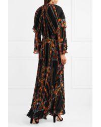 Etro - Black Cape-effect Printed Plissé Silk-chiffon Gown - Lyst