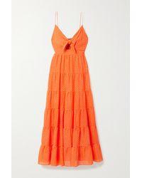 Alice + Olivia Orange Minka Cutout Tiered Fil Coupé Chiffon Maxi Dress