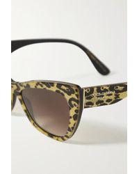 Dolce & Gabbana Multicolor Sonnenbrille Mit Cat-eye-rahmen Aus Azetat Mit Leopardenprint In Glitter-optik