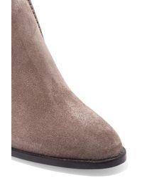 Tod's Gray Selleria Ankle Boots Aus Veloursleder