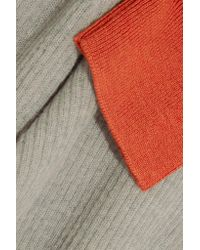 Marni Gray Color-block Ribbed-knit Sweater