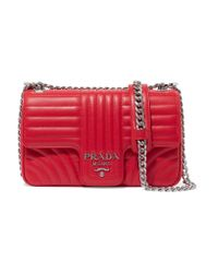 Prada Red Diagramme Leather Shoulder Bag
