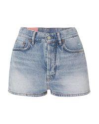 Acne Blue Ren Distressed Denim Shorts