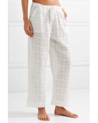 Skin White Crinkled Cotton-gauze Pajama Pants