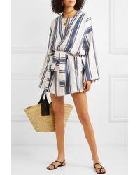 Kimono En Coton Mélangé À Rayures Playa Lucy Folk en coloris White