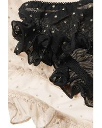 Le Petit Trou Black Day And Night Gift Set Of Two Ruffled Cutout Fil Coupé Stretch-tulle Briefs