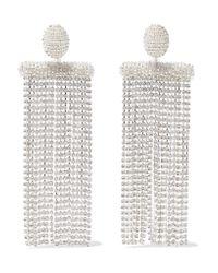 Oscar de la Renta - Metallic Silver-tone, Bead And Crystal Clip Earrings - Lyst