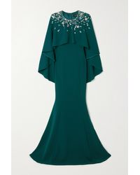 Jenny Packham Green Embellished Cape-effect Crepe Gown