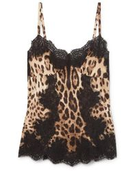 Dolce & Gabbana - Multicolor Lace-trimmed Silk-blend Charmeuse Camisole - Lyst