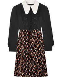 Chloé - Black Embroidered Cady And Printed Velvet Mini Dress - Lyst
