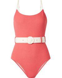 Solid & Striped Pink The Nina Badeanzug Aus Frottee Mit Gürtel