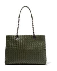 Bottega Veneta   Green Shopper Large Intrecciato Leather Tote   Lyst