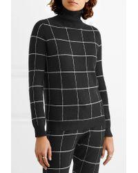 Madeleine Thompson Black Ida Checked Cashmere Turtleneck Sweater