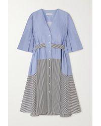 Robe Midi En Chambray Et En Popeline De Coton Rayée Manon Palmer//Harding en coloris Blue