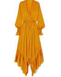 ARJE Orange Asymmetrisches Maxikleid Aus Seidensatin Mit Rüschen