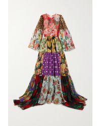Dolce & Gabbana Black Tiered Patchwork Printed Silk-chiffon Gown